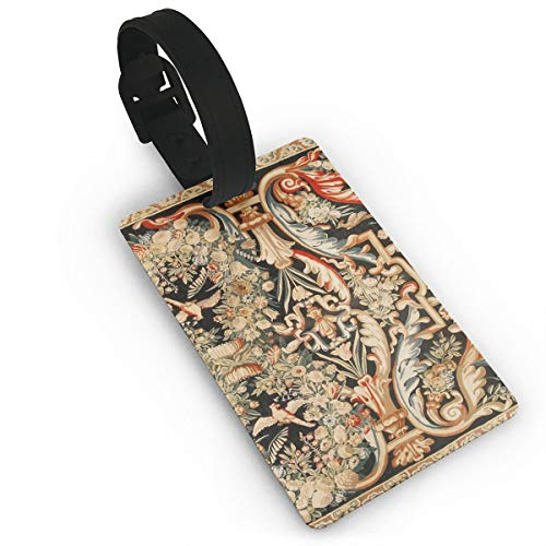 Aubusson Rose - Antique French Gobelins Aubusson Tapestry Luggage Tags Suitcase Labels Bag Travel Accessories - Set of 2