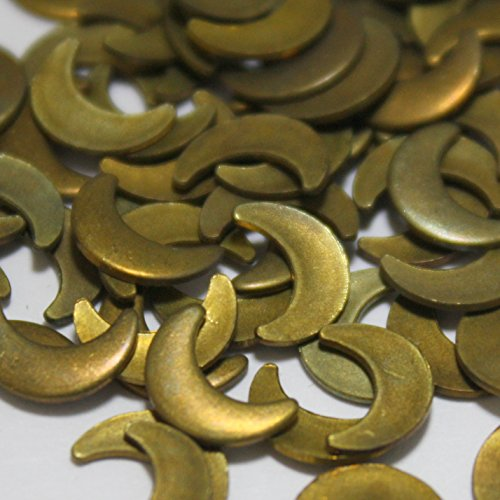 Vintage Raw Brass (Vintage Crescent Moon Shaped Brass Findings - Raw Brass Jewelry Components - 24 Pieces)