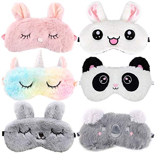Cute Sleep Mask for Kids,Aniwon 6 Pack Animal Sleeping Mask Soft Plush Blindfold Eyeshade Cute Rabbit Panda Koala Unicorn Eye Covers Eye Mask for Girls Women Kids Favor