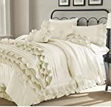 8pc Pearl White Ruffled Stripes Pattern Comforter Queen Set, Neutral Solid Color, Unisex, Luxury Modern Bedrooms, Classic French Country, Shabby Chic Ruffles Lines Design