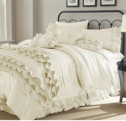 8pc Pearl White Ruffled Stripes Pattern Comforter Queen Set, Neutral Solid Color, Unisex, Luxury Modern Bedrooms, Classic French Country, Shabby Chic Ruffles Lines Design by DP