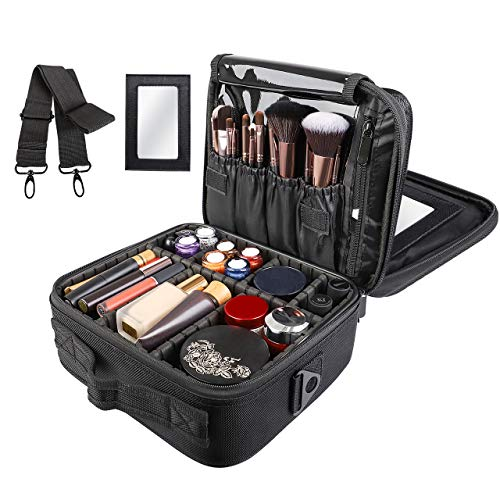 (Kootek Travel Makeup Bag Double-Layer Portable Train Cosmetic Case Organizer with Mirror Shoulder Strap Adjustable Dividers for Cosmetics Makeup Brushes Toiletry Jewelry Digital Accessories)