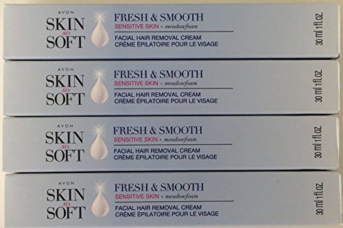 Avon Skin so Soft Fresh & Smooth Sensitive Skin Facial Hair Removal Cream 1 oz Each. A Lot of 4 (Avon Skin So Soft Hair Removal Cream Reviews)