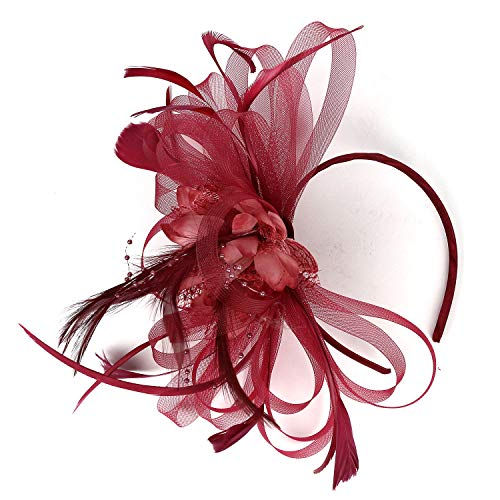 Kentucky Derby Fascinators for Women Sinamay Tea Party Hat Cocktail Headpiece Flower Mesh Feathers Headband Hat Burgundy_BD