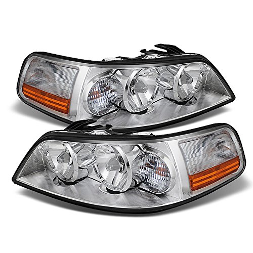 - VIPMOTOZ Chrome Housing OE-Style Headlight Headlamp Assembly For 2005-2011 Lincoln Town Car Halogen Model, Driver & Passenger Side