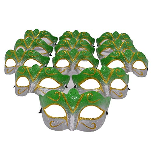 Yiseng Masquerade Mask Party Favors Mardi Gras Venetian Mask Halloween Novelty Gifts Pack of 12 (Green)]()