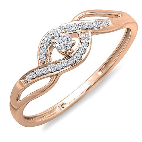Dazzlingrock Collection 0.15 Carat (ctw) 10K Round Diamond Ladies Criss Cross Engagement Bridal Ring, Rose Gold, Size -