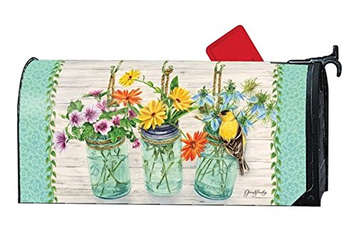 Magnet Works Studio M Mailwraps Goldfinch on Jar LARGE Magnetic Mailbox Cover