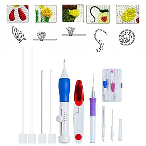 Set Two 50 Coil Color Random Wandofo Magic DIY Hand Embroidery Pen Patch Knitting Sewing Tool Kit Punch Needle