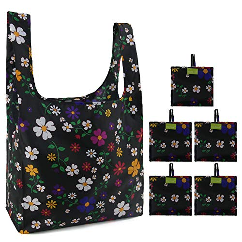 Reusable Grocery Bags Set, Grocery Tote Foldable into Attached Pouch, Ripstop Polyester Reusable Shopping Bags, Washable, Durable and Lightweight (Black Flowers 02) ()