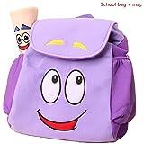 Dora Explorer Backpack Rescue Bag with Map,Dora Backpack  Pre-Kindergarten Toys Purple