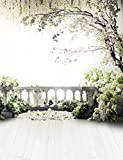 8x10 ft Scenic Photography Backdrops Wedding Background for Photo Studio Romantic Spring Floral Tree Flowers Wood Floor Booth Shoot Prop 6942-8