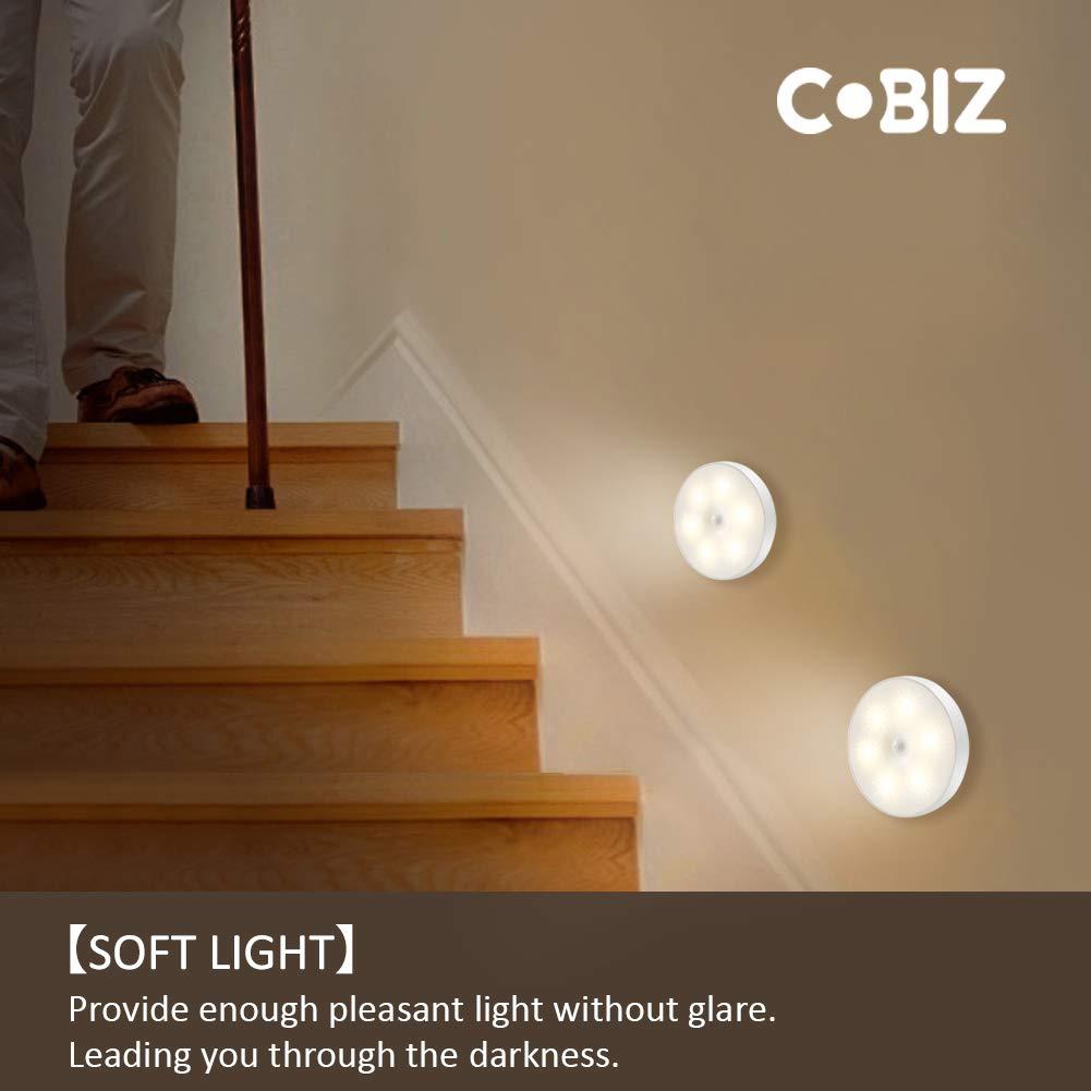 Capteur sans fil USB rechargeable Magn/étique lampe detecteur de mouvement interieur avec tampons adh/ésifs gratuits Cobiz Veilleuse Led Blanc chaud Paquet de 2 Coller nimporte o/ù