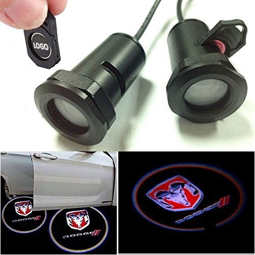 Champled For Dodge Car Led Laser Projector Illuminated Emblem Under Door Step Courtesy Light Lighting Symbol Sign Badge Glow Replacement Logo Film Auto Acessories
