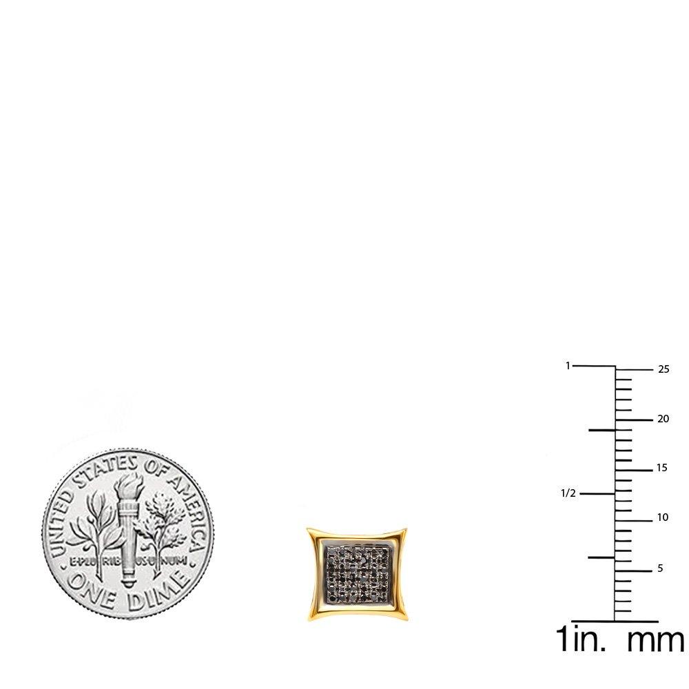 0.15 Carat (ctw) 10K Yellow Gold Black Round Diamond Micro Pave Setting Kite Shape Stud Earrings