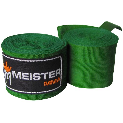 """Meister Adult 180"""" Semi-Elastic Hand Wraps for MMA & Boxing (Pair) - Forest Green"""