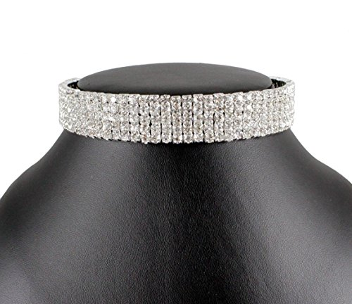 Janefashions 5-row Five Rows Clear White Austrian Rhinestone Crystal Choker Collar Necklace Dance Party Jewelry Wedding Prom N060 Silver