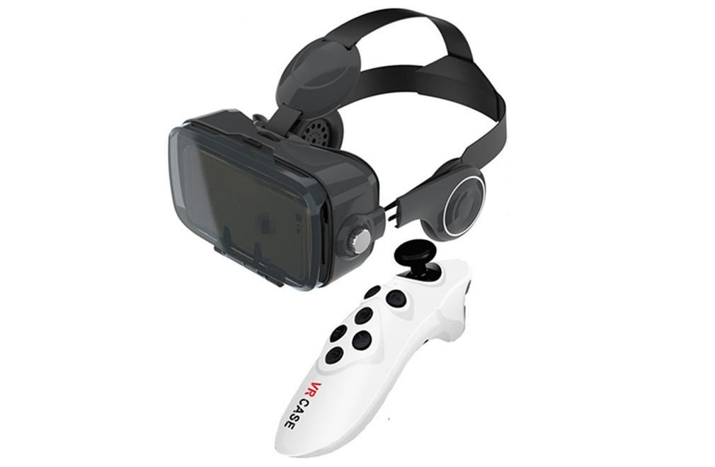 Nola Sang 3D Virtual Reality Glasses VR Headset with Iphone Android Bluetooth Remote Control Panoramic Watching Movies Videos and 3D Immersive Games 4.7-6.2 Inches Screen