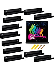 Jetec 12 Pieces Vinyl Record Shelf Wall Record Frame Display Shelf Acrylic Wall Shelf for Records Collection and Decoration (Black)