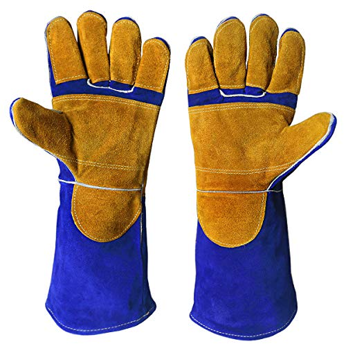 Tig Welding Gloves,DOURR Welding Gloves EXTREME Heat & Fire Resistant Mittens for Mig Welders Grill Fireplace Stove BBQ Glove 16 inch (Blue)