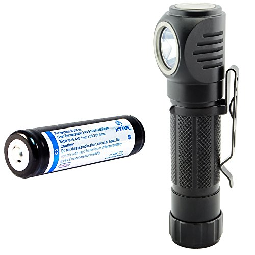 Lumintrail Right Angle Head Flashlight 1050 Lumen LED Features Headlamp Strap, Pocket Clip, Magnetic Tail, 5 Modes including Strobe (plus Rechargeable 18650 Battery)
