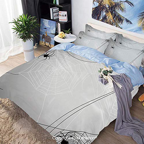 Bedding Sheets Set 3-Piece Bed Set,Spiders Hanging from Webs Halloween Inspired Design Dangerous Cartoon Icon Decorative,Twin Size,Include 1 Quilt Cover+2 Pillow case,Grey Black White -