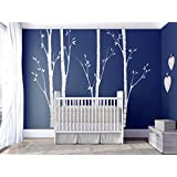 N.SunForest Removable Set of 4 Big Birch Tree in White - 7.5ft Vinyl Art Wall Decals Mural for Nursery Room