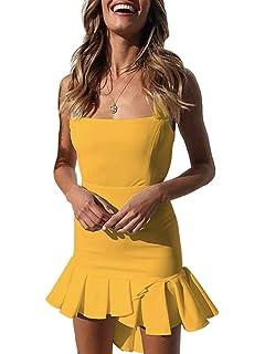 4c1cee564ef LASOR Womens Bodycon Backless Cocktail Dress Sleeveless Ruffled Wrap High  Low Sundress