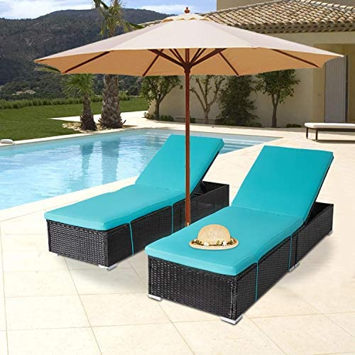 Outdoor PE Wicker Chaise Lounge 2 Piece Patio Reclining Chair Furniture Set Pool Deck Adjustable Backrest Recliner