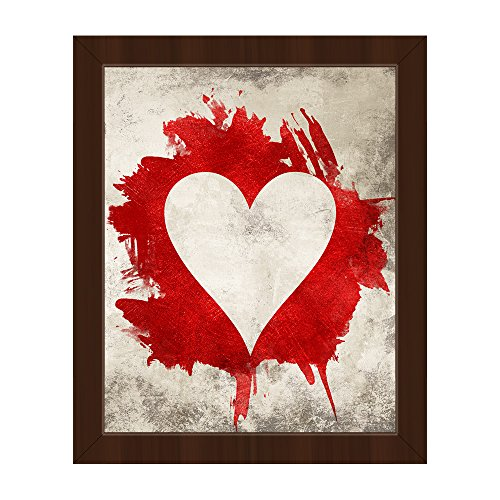 Stone Heart: Distressed Modern Contemporary Abstract Graphic of Playing Card Suit Wall Art Print on Canvas with Espresso Frame