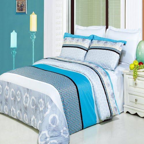 Algodón egipcio de lujo de la tienda de la fábrica 100% algodón egipcio 3 piezas Alyssa impresa juego de cama, completo: Amazon.es: Hogar