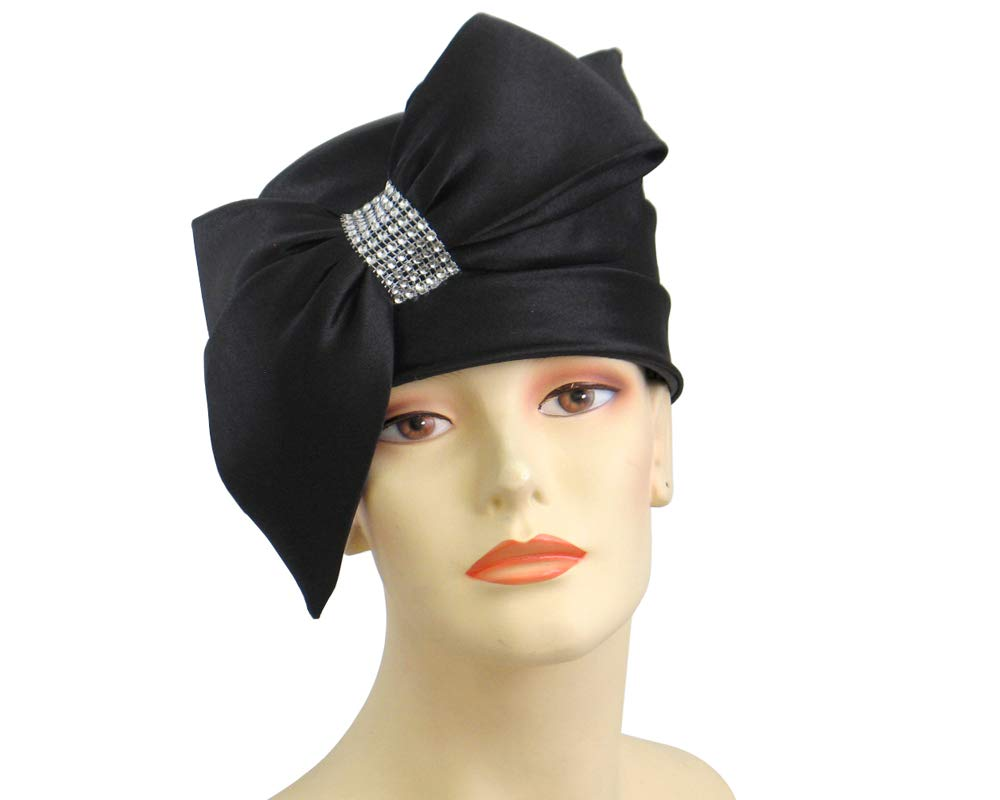 Ms. Divine Collection Women's Satin Pillbox Church Hats Dress Formal Hats #K021 (Black) by Ms. Divine Collection