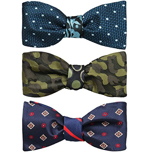 BMC Mens 3pc Reversible Mixed Design Self Tied Adjustable Flat Tip Style Bow Ties - Set 3 (Reversible Bow Tie)