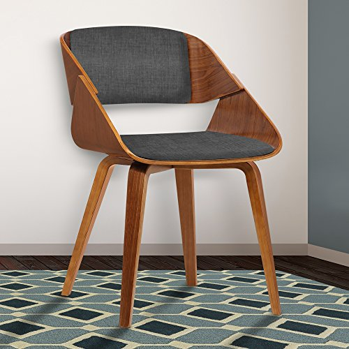 Armen Living Ivy Dining Chair in Charcoal Fabric and Walnut Wood Finish (Rico Furniture Puerto Living)