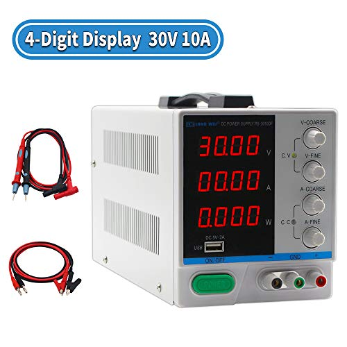 DC Power Supply Variable 30V 10A, 4-Digital LED Display, Precision Adjustable Switching Regulated Multifunctional Power Supply Digital with USB Interface, Disply with Output Power Lab Grade (Grade Power Supply)