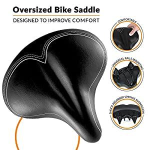 Oversized Comfort Bike Seat - Bikeroo Most Comfortable Replacement Bicycle Saddle - Universal Fit For Exercise Bike And Outdoor Bikes Suspension Wide Soft Padded Bike Saddle For Women and Men