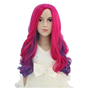 BERON Child Long Wave Pink and Purple Anime Women Wig Halloween Costume Cosplay Party Wig (Child)