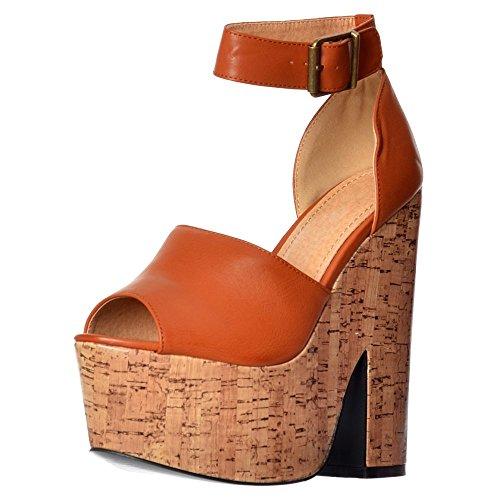 Onlineshoe Womens Party Cork High Heels Open Toe Strappy Platform Demi Wedge UK7 - EU40 - US9 - AU8 Tan PU ()