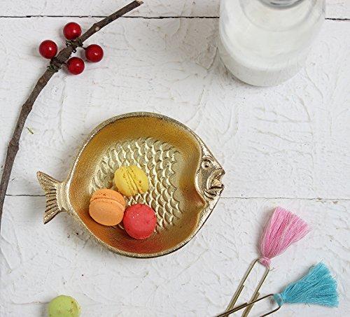 Antique Fish Platter - Store Indya Trinket Dish Serving Platter Antique Platter Handmade With Nickel Finish (Fish Collection)
