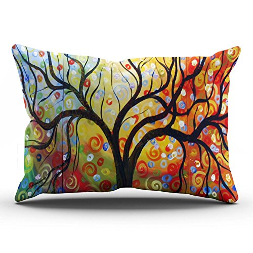 (KEIBIKE Personalized Love Tree Color Rainbow Candys Wave Polka Dot Cute Adorable Lumbar Rectangle Decorative Pillowcases Design Zippered Throw Pillow Covers Cases 12x24 Inches One Sided)