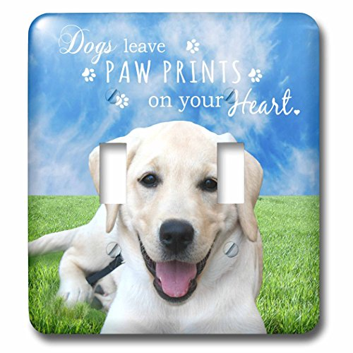 3dRose lsp_123126_2 Dogs Leave Paw Prints On Your Heart Quote Cute Happy Golden Labrador Puppy Dog Outdoor Photography Double Toggle Switch