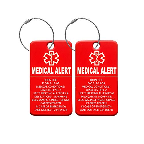- Medical Alert Tag - Medical ID Tag - Customized Engraved Info - Medical Patients - Luggage Tag - Equipment Luggage Tags - Respiratory (4 Pack)