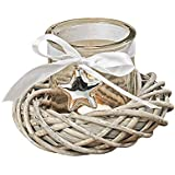Whole House Worlds The Farmer's Market Rustic Wicker Wreath Table Top Centerpiece Candle Holder, Ribbon And Star Accents, Weathered Driftwood Gray, Glass Candle Cup, 7 In Diameter x 4 ¾ In Tall, By