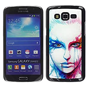 Be Good Phone Accessory // Dura Cáscara cubierta Protectora Caso Carcasa Funda de Protección para Samsung Galaxy Grand 2 SM-G7102 SM-G7105 // Art Face Portrait Woman Blonde Red Eyes