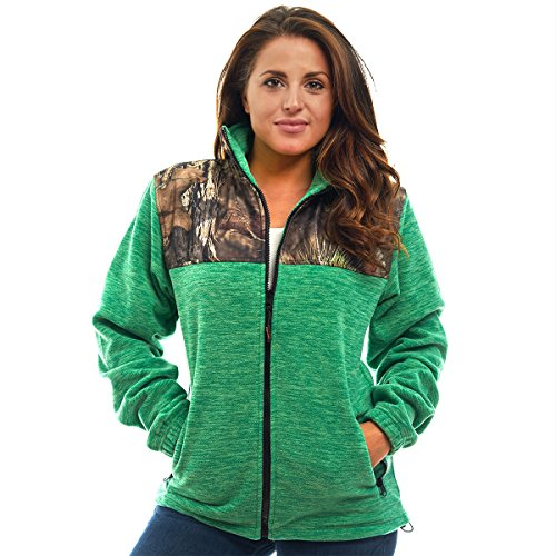TrailCrest Women's C-Max Full Zip Fleece Jacket, Mossy Oak Break-Up Country Camo (Green Heather - Large)