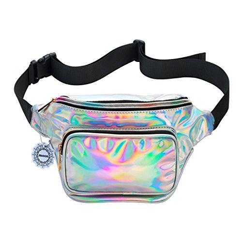 Water Resistant Shiny Neon Fanny Bag for Women Rave Festival Hologram Bum Travel Waist Pack (Silver)
