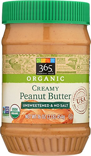 365 Everyday Value, Organic Creamy Peanut Butter Unsweeteend & No Salt, 16 oz