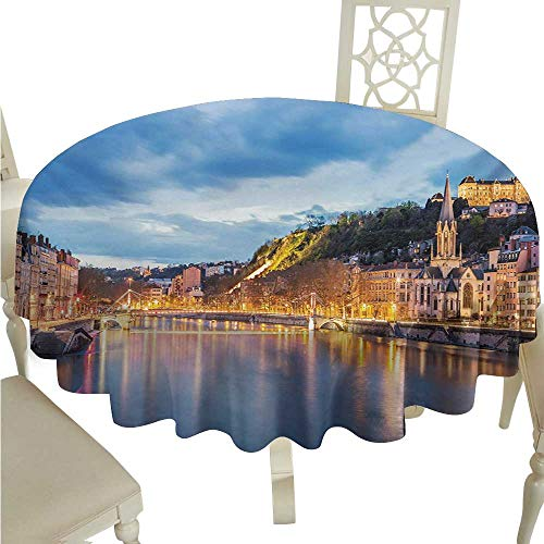 Round Tablecloth Plaid European,View of Saone River in Lyon City at Evening France Blue Hour Historic Buildings,Multicolor D70,for Party -