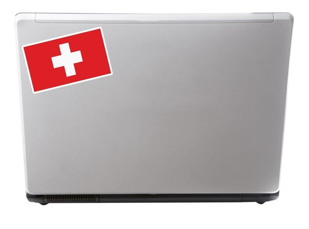 2 x 10cm//100mm Bandiera della Svizzera adesivo vinile adesivo da viaggio per portatile auto bagagli iPad segno divertimento #5288