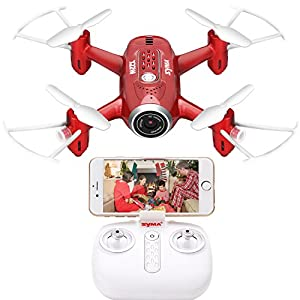 DoDoeleph Mini UFO Quadcopter Syma X22W Wifi FPV Pocket Drone HD Camera Headless Mode RC Drone with Flight Plan and App Control by SYMA